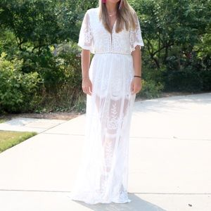 Pants - Super Cute boutique Lace romper with overlay!